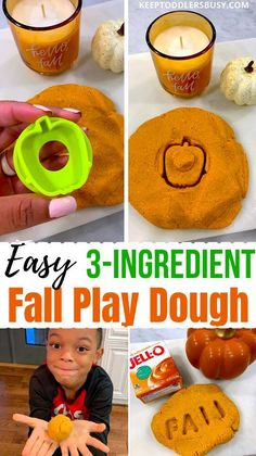 Find Out How To Make Play Dough For Young Kids That Is Perfect For The Fall Season! We Only Used 3 Ingredients To Make This Make An Edible Dough Recipe That's Perfect For The Autumn Season… More Craft Projects For Kids, Fun Crafts For Kids, Art Projects, Craft Ideas, Fall Activities For Toddlers, Holiday Activities, Kindergarten Activities, Learning Activities, Preschool
