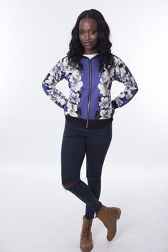 Jumper, Bomber Jacket, Coats, Floral, Jackets, Blue, Collection, Fashion, Down Jackets