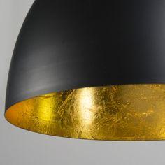 Lámpara colgante HOODI pequeña negra-oro #deco #diseño #interiorismo