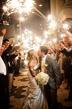 Wedding Sparklers Ideas and Inspiration - Sparklers as the Bride and Groom Exit or Leave the Wedding Reception