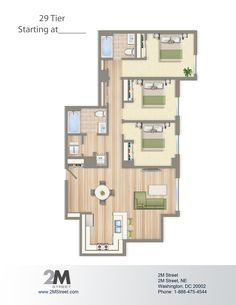 Three-Bedroom Floor Plan | 2M Street in Northeast Washington DC | WC Smith #Apartments | NoMa #PetFriendly #Rentals