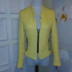 """Yellow Tweed Zipper Jacket New with out tag Bought new ~Never worn! Small flaw, rip at back part lining, see last picture. Showing just very slight rub wear, on arms. Just from hanging in the closet.  Clean~smoke-free home. Measured flat- armpit to armpit16"""" waist14"""" shoulder to cuff22"""" small shoulders, about13"""" neck to bottom front 23""""/back 19""""  Pictured a small dress form. About a 34B Jr's small. Fits a little snug at bust line. no label import Jackets & Coats Blazers"""