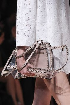 transparent bags (SS13 Valentino, with nude leather studded trim)