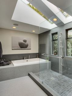 Want privacy, but still want to maintain as much natural light as possible? The beautiful natural light in this bathroom is filtered through the large and expansive skylights overhead.