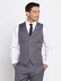 Our gray wool vest is designed to be worn with the matching suit. Add it to your look for a dapper and distinguished effect. Later in the evening, wear it sans coat and you'll look like a true gentleman.  Made from 100% Italian Merino Wool. 5 button