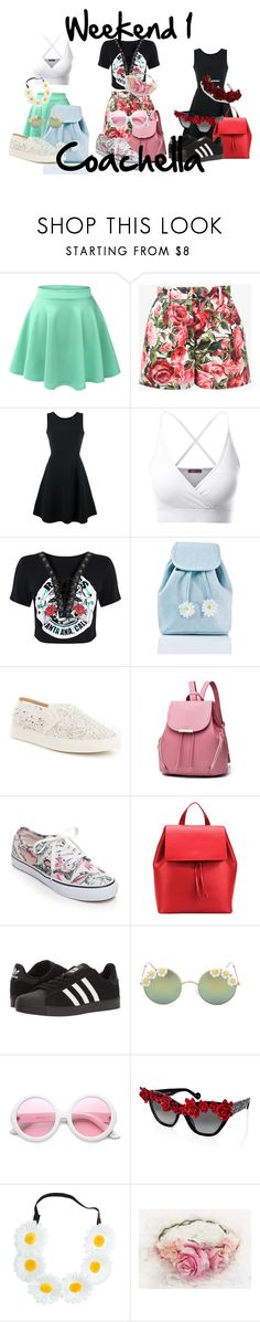 """Coachella weekend 1"" by shatira-harris on Polyvore featuring LE3NO, Dolce&Gabbana, Emporio Armani, Doublju, Sugarbaby, Antonio Melani, Vans, Aesther Ekme, adidas and Full Tilt"