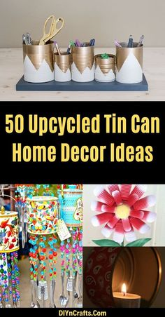 50 Jaw-Dropping Ideas for Upcycling Tin Cans Into Beautiful Household Items! Aluminum Can Crafts, Tin Can Crafts, Crafts To Make And Sell, Easy Crafts For Kids, Key Crafts, Diy Arts And Crafts, Diy Craft Projects, Recycling Projects, Decoupage Tins
