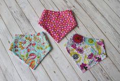 Girl Bandana Bib, Pink Bandana Bib,Turquoise Bandana Bib, Twin Girl Bandana Bib, Twin Girl Gift Set,Baby Girl Shower Gift,Floral Bandana Bib by LovlyLynn on Etsy