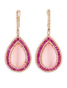 19.24ctw Rose Quartz, Sapphire and Diamond Earrings