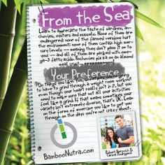 Nutrition & Fitness Tip - From the Sea & Your Preference