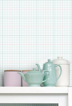 A contemporary geometric wallpaper design by Mini Moderns which has been inspired by traditional graph paper, found in old school books. Contemporary Geometric Wallpaper, Geometric Wallpaper Design, Modern Wallpaper, Paper Wallpaper, Wallpaper Designs, Retro Wallpaper, Diy Interior, Best Interior Design, Interior Decorating