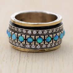 Opal ringGold and Silver Ring with Turquoise and by CanaanSpirit