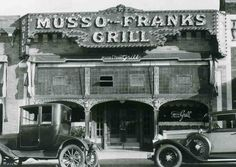 This very old vintage photo from the earliest days of Musso & Frank Grill (since 1919) on Hollywood Boulevard.  This great (then and now) dining establishment attracted the movie stars.  Today we like to offer it as a lunch stop to our Elite Adventure Tours guests on their private Los Angeles tour.