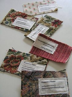 Very creative business 'cards' by Francesca Pasini. They are made from old fabric samples collected by her mom. Corporate Design, Business Card Design, Graphisches Design, Logo Design, Design Cars, Design Ideas, Design Layouts, Store Design, Creative Design