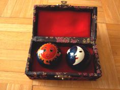 Vintage Cloisonne Chinese Chiming Stress Balls Sun and Moon w/ Silk Box Case