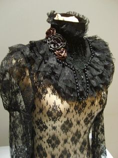 Victorian Roses black collar by blackmirrordesign on Etsy