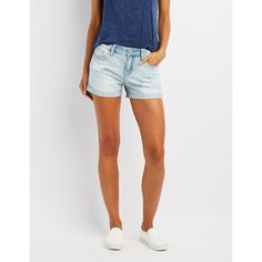 Cello Destroyed Girlfriend Shorts ($16) ❤ liked on Polyvore featuring shorts, indigo, stretch jean shorts, distressed jean shorts, ripped shorts, jean shorts and cuffed denim shorts