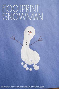 Foot Print Snowman - Easy Toddler + Kids Craft.