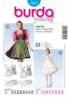 Purchase Burda 7057 Misses Costume Dresses and blouses and read its pattern reviews. Find other Dresses, Costumes, Junior, sewing patterns.