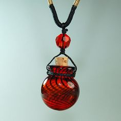 Aromatherapy Jewelry Aroma Bottle Necklace Murano Glass  Pink Gift. $10.00, via Etsy.