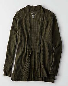 AEO Soft & Sexy Plush Waffle Knit Cardigan, Olive | American Eagle Outfitters