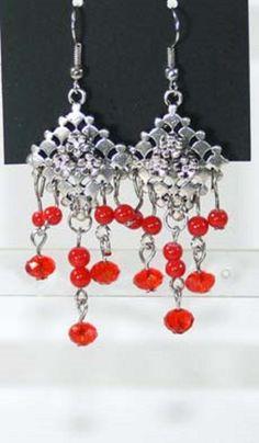 Boucles d oreille perles rocaille rouge-métal argenté-pendante-gravure-neuves