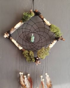 Dreamcatcher with wood and moss Dreamcatchers, Etsy Seller, Create, Wood, Handmade, Painting, Dream Catchers, Woodwind Instrument, Timber Wood