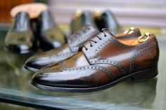 http://chicerman.com  dandyshoecare:  Have a couple John Lobb in your private collection is already a great joy for every collector and connoisseur of footwear. Having a pair of John Lobb customized by Dandy Shoe Care is priceless!  Thanks to Patina On Her Majestys Secret Service these beautiful shoes have been transformed into unique Work of Art giving an immense satisfaction to their owner Mr.E.B.  #menshoes