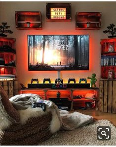 Gaming Mancave # Sunday Game room and console now console. Gamer Room Pc Gaming Setup Game Room Design Video Game R Home Theater Design, Home Design, Mug Design, Modern Design, Game Room Decor, Room Decorations, Mens Room Decor, Nerd Decor, Boy Decor