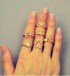 La Perla 6pcs/Set Heart Love Infinity Anchor Arrow Gold/Silver Midi Knuckle Ring Set