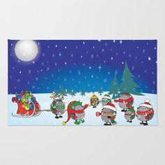Hedgehog's Christmas magic Area & Throw Rug by mangulica - $28.00
