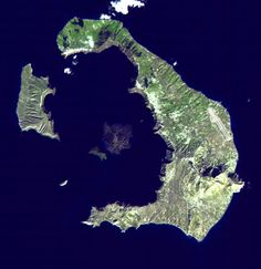 The volcanic crater at Santorini Island as seen today.