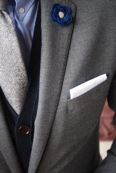 Grey tie and cardigan- very handsome!