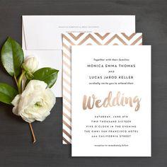 Brushed Lettered Wedding Invitations by Hooray Creative | Elli