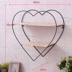Heart Shelf, Heart Wall, Metal Walls, Wood And Metal, Round Shelf, Pallet Wall Shelves, Hanging Racks, Aesthetic Room Decor, Heart Decorations