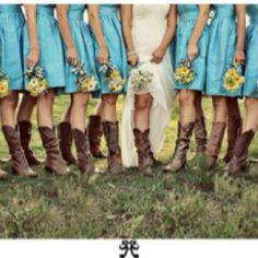 my kind of country wedding- love the color and boots!!! <3