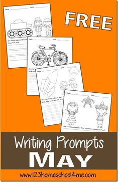 FREE May Writing Prompts for kindergarten, first grade, 2nd grade, 3rd grade, 4th grade (homeschool, creative writing)