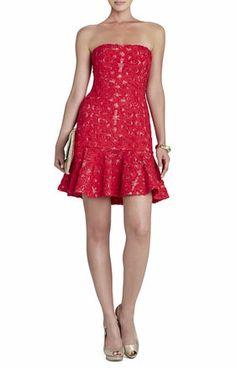Marina Strapless Ruffle-Hem Dress