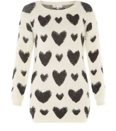 Cameo Rose Monochrome Heart Fluffy Jumper
