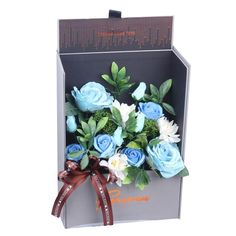 Adore Home Living - Luxury Soap Flowers Blue Gift Box Artificial Flower Arrangements, Artificial Flowers, Bath Flowers, Flowers Australia, Rose Bath, Luxury Soap, Blue Garden, Blue Gift, Blue Roses
