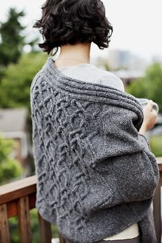 Seraphine cabled wrap, designed by Lucy Sweetland for Brooklyn Tweed's collection, Wool People 1.