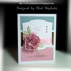 Stamps: Fancy Flower, Watercolor Trio Paper: Whisper White, Baja Breeze, Pretty in Pink, Soft Suede Ink: Soft Suede, Pretty in Pink, Old Olive Accesories: satin ribbon, pearls Tools: piercing tool, CB and Nestie, CE