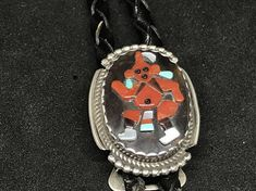 Vintage Old Pawn Sterling Silver Bolo Tie with Zuni Mudman