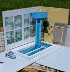 Stampin'Up! Explosionsbox oder auch Überraschungsbox mit einem Schwimmbad. Du suchst noch eine Idee, um einen Gutschein oder eine Eintrittskarte oder einfach nur Bares für einen Schwimmbadbesuch zu verschenken? Dann besuche mich auf meinem Blog