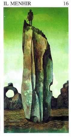 XVI. The Tower ( Il Menir ) - Tarot of the Origins by Sergio Toppi