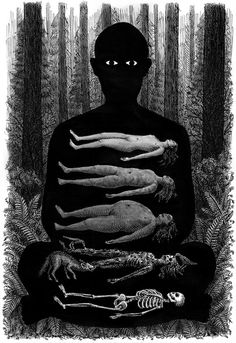 Illustration from from here to eternity, written by caitlin doughty and illustrated by landis blair Art And Illustration, Dark Art Illustrations, Kunst Inspo, Art Inspo, Arte Horror, Horror Art, Fantasy Kunst, Fantasy Art, We All Mad Here