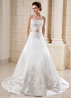 A-Line/Princess Sweetheart Cathedral Train Satin Wedding Dress With Embroidery Sash Beading Bow(s) (002000099) http://www.dressdepot.com/A-Line-Princess-Sweetheart-Cathedral-Train-Satin-Wedding-Dress-With-Embroidery-Sash-Beading-Bow-S-002000099-g99 Wedding Dress Wedding Dresses #WeddingDress #WeddingDresses