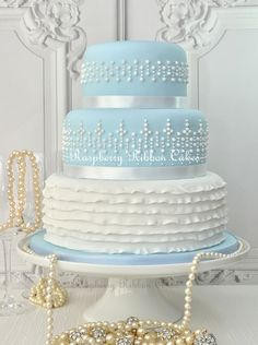 Raspberry Ribbon Cakes 'Something Blue' #Wedding #Cake with royal icing pearls and frilled sugar ribbons