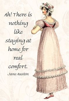 """Ah, There Is Nothing Like Staying At Home For Real Comfort."" This beautiful Jane Austen inspired #postcard is the newest addition to the Pretty Girl Postcards repertoire. ... #emma #white"