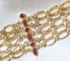 Vintage 5 Row Ruby Textured Chain Cuff Bracelet by InVogueJewelry, $135.00